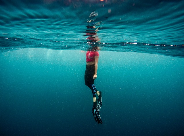A person swimming in a body of water